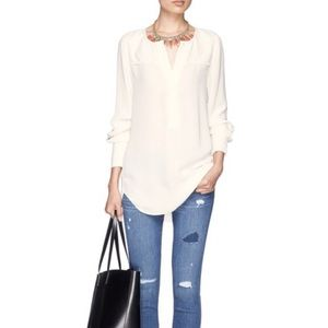 NWT J. Crew crepe off white tunic blouse XL